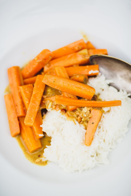 Schmormöhren in Erdnusssauce mit Reis, Pomponetti, Rezept