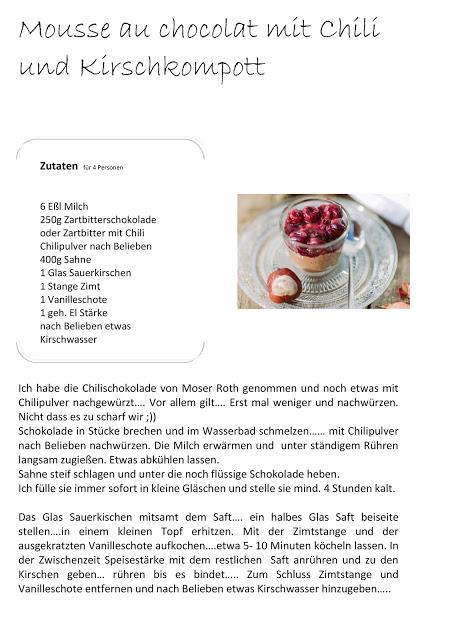 Mousse au chocolat, ohne Ei, Kirschkompott, Pomponetti, Rezept