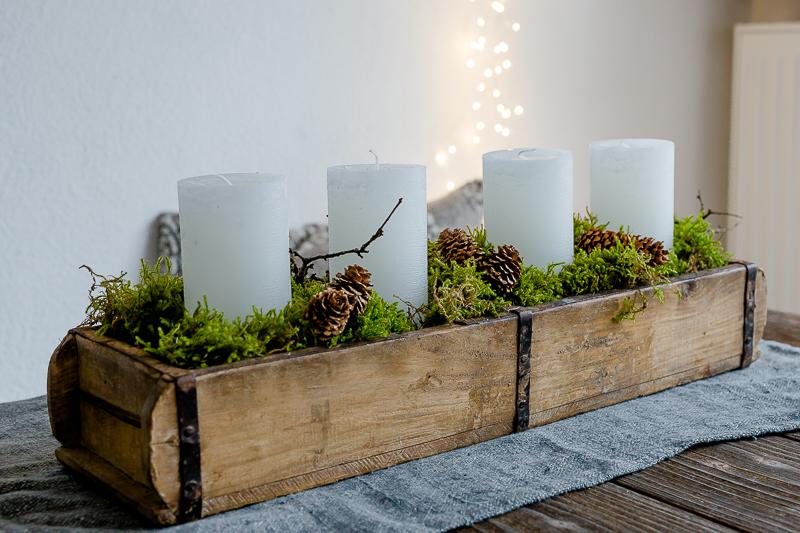 Alternativen zum klassischen Adventskranz, Last Minute Adventskranz, DIY, Pomponetti, Holzziegelform mit Kerzen und Moos