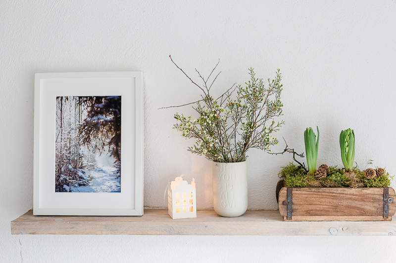 Januardekoration mit Frühlingskracher, Pomponetti, Regaldeko,, Interior