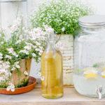 Blumentisch für die Gartenterrasse selbstgebaut, Pomponetti, Holunderblütensirup