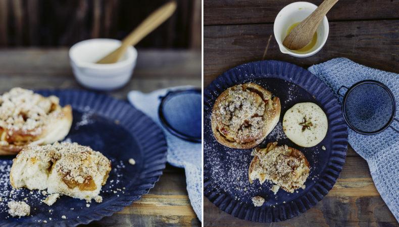 Norwegische Zimtschnecken mit Bratapfel und Streuseln