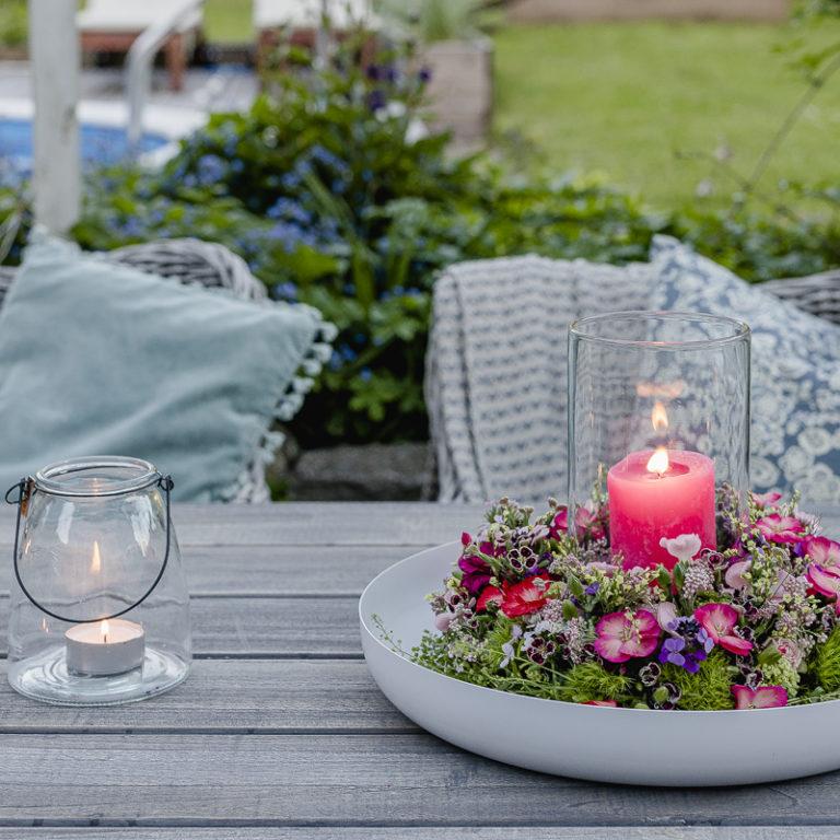 Blumenkranz als Windlicht, Pomponetti