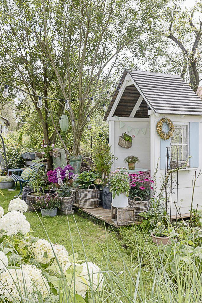 Gartenlaube mit Hortensien, Pomponetti