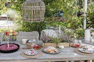 Tischsetting Herbst mit Erika und Heide, Pomponetti